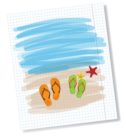 Summer shoes and starfish on beach, family concept Vector