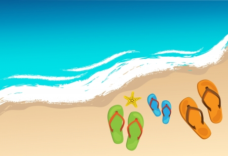 a thong: Summer shoes and starfish on beach, family concept Illustration