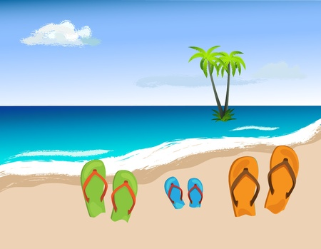 a thong: Summer shoes on beach, family concept Illustration