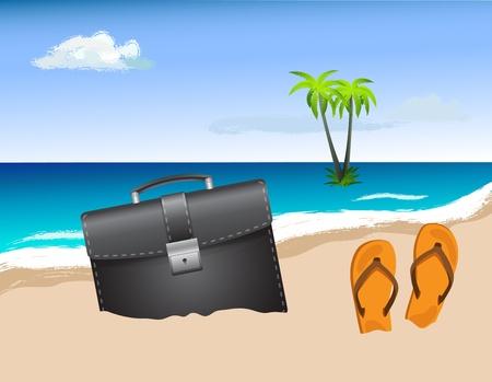 Business bag on the beach Vector