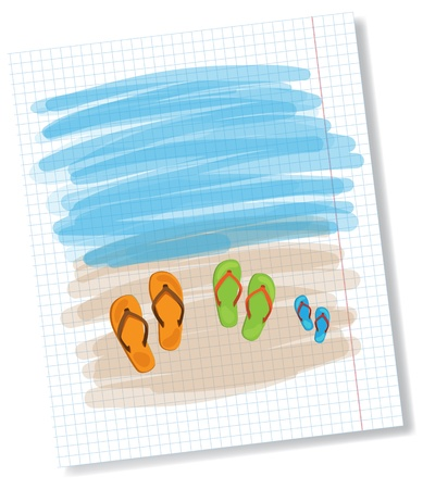 a thong: Summer shoes on sand, family concept