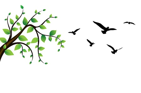 famous painting: Bird around a tree branch
