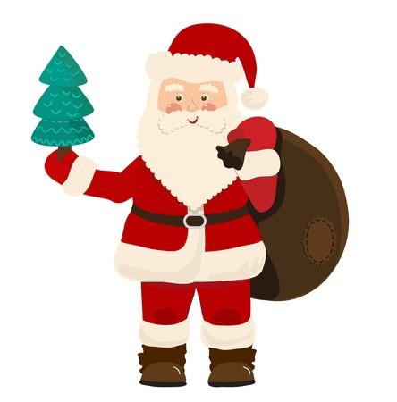 white bacjground: Santa Claus with bag of toys isolated on white