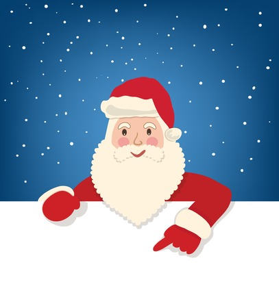 Santa Claus show on the white page on star sky background Vector