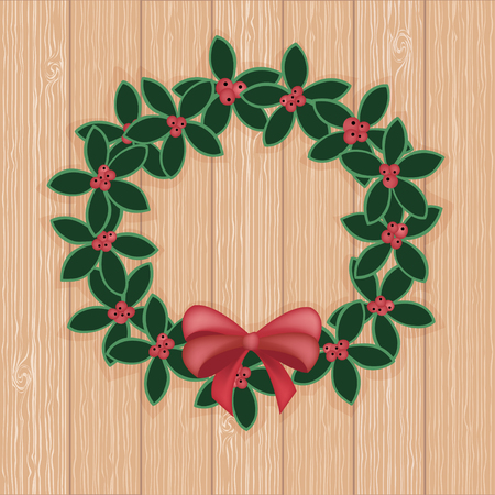 biege: Christmas decorative wreath garland ornament. Vector