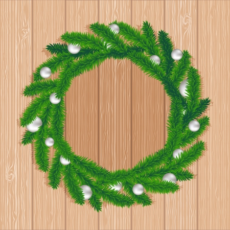 Christmas wreath on biege wood background, vector Vector