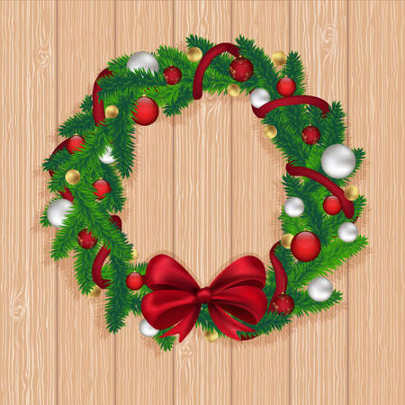 biege: Christmas wreath on biege wood background, vector