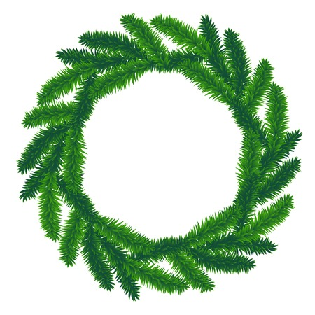 fir twig: traditional green christmas wreath isolated on white background. Illustration