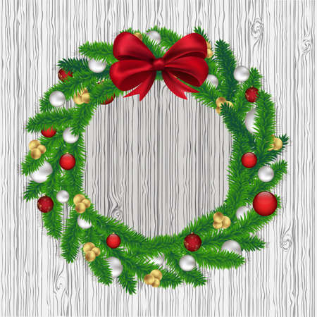 Christmas wreath on gray background, vector Vector