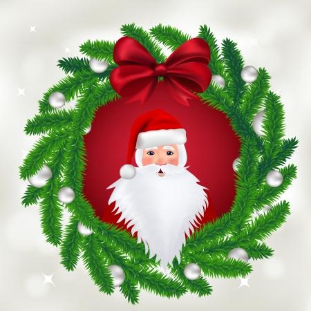 Christmas card - wreath, vector illustration.