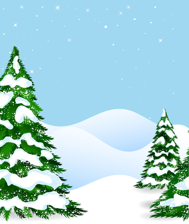 winter forest: Winter forest and snow, vector illustration