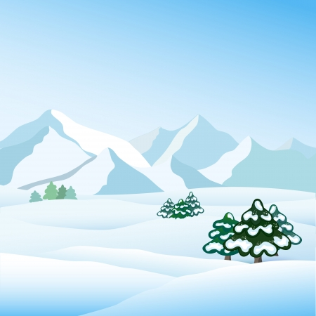 paysage: Winter view, vector Illustration