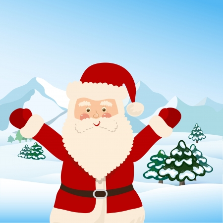 Santa Claus with bag of toys for children, vector