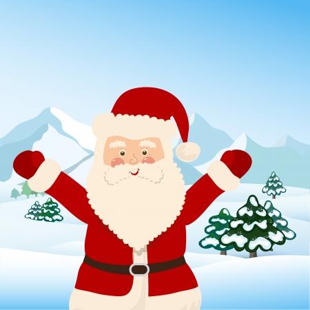 Kerstman met zak van speelgoed voor kinderen, vector Stock Illustratie