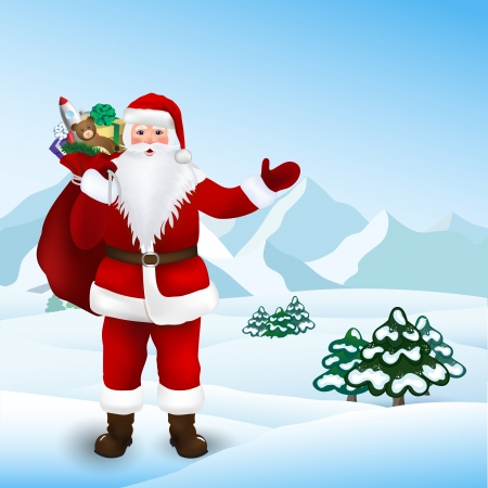 Santa Claus with bag of toys for children, vector Stock Vector - 22767006