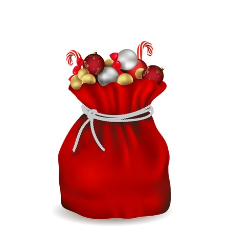 toy sack: Santa bag with balls and candy, vector Illustration