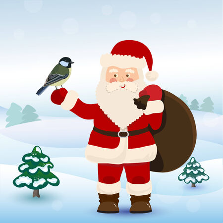 Santa Claus with bird  in winter forest, vector Vector