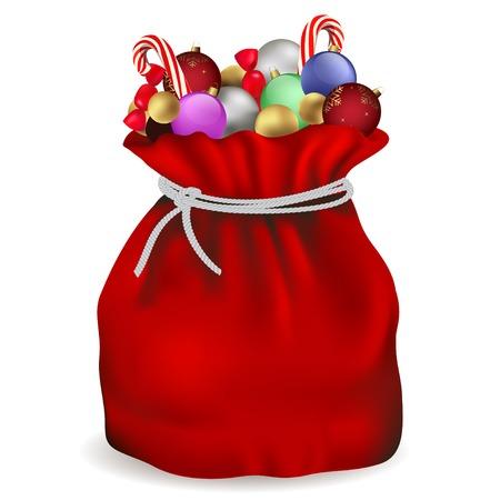 toy sack: Bolsa de Santa Claus con dulces y bola colores Vectores