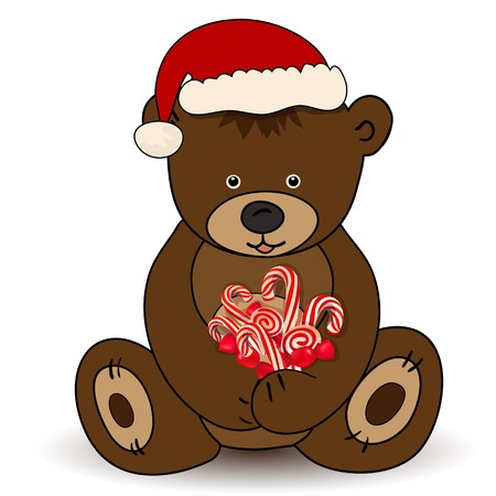 Bear in Santa Claus hat holding a candy Vector