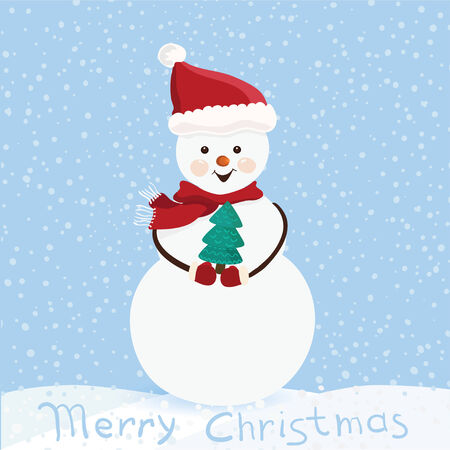 Winter background. Cute snowman in vector