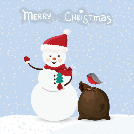 Christmas snowmen and bag with bird and text, vector Vector