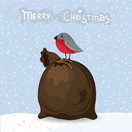 Christmas bag with bird and text, vector Vector