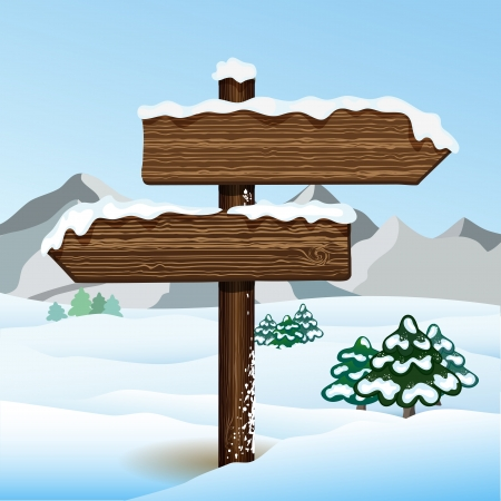 bilboard: Vector bilboard in winter forest Illustration