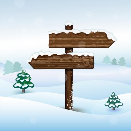 Vector bilboard in winter forest Ilustracja