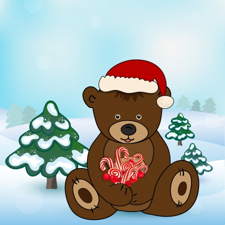 Bear in Santa Claus holding a box present Vector