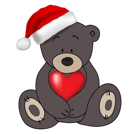 osos navideños: Tenga en sombrero de Santa Claus sosteniendo un corazón, vector