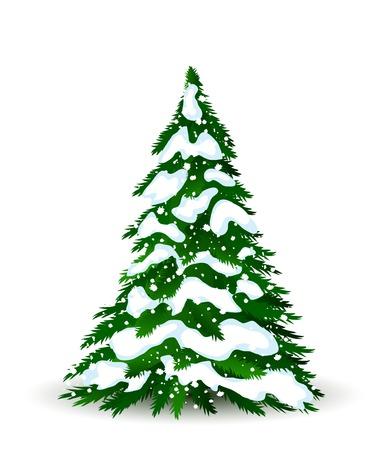 Christmas tree in winter, vector card for design Vettoriali