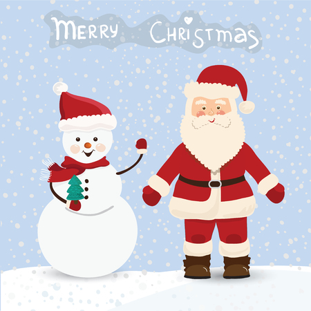 st  nick: Santa Claus and snowman, christmas card in vector