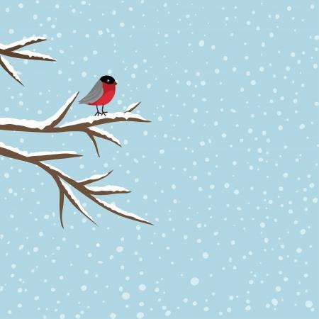 Bird sitting on branch in winter, vector Vector