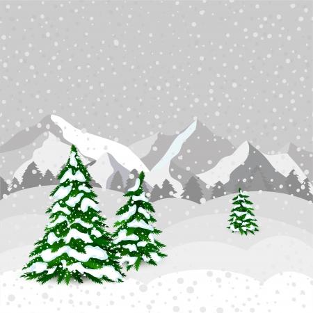 monta�as nevadas: Bosque de invierno en vector