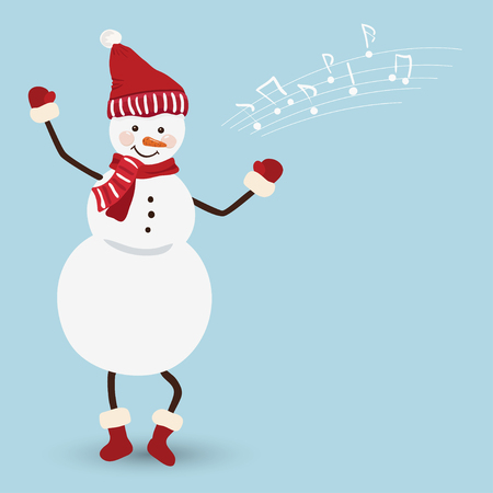 green tophat: Snowman in a Christmas dress dancing, vector Illustration
