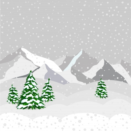 Winter landscape, mountain and forest in vector Vector