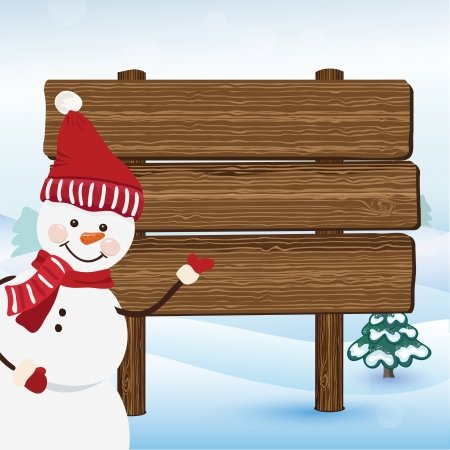 Snowman show on the bulletin board in winter forest Vector