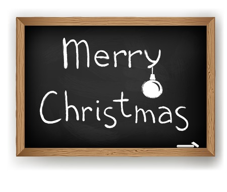 Text Merry Christmas on blackboard Vector