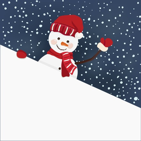 Snowman holding for a banner in vector Vector