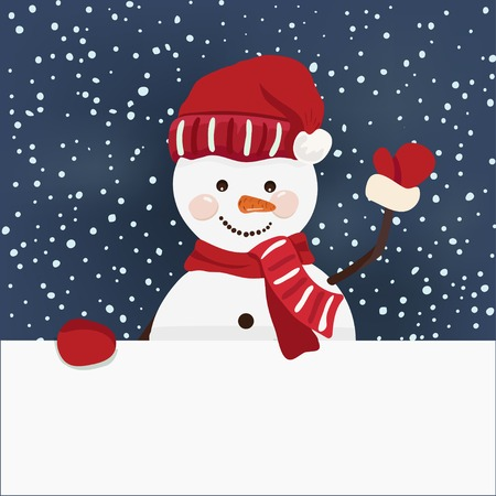 Cartoon design, christmas banner with snowman in vector Vector