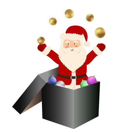 white bacjground: Santa Claus jumping from box