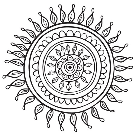 Mandala pattern black and white isolated in vector Vector