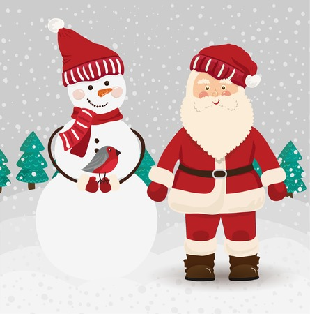 st  nick: Santa Claus and snowman in vector Illustration