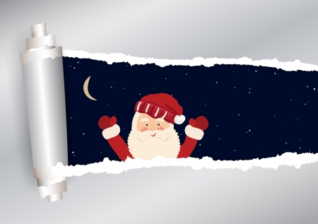 hand torn: Torn paper with sky and Santa Claus in vector