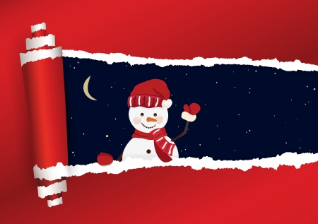 hand torn: Torn paper with sky and snowmen in vector