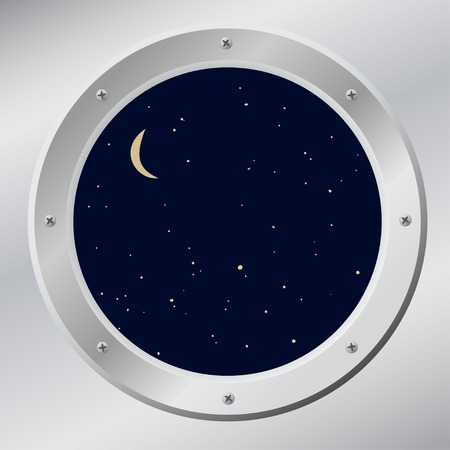 porthole: Sky in porthole in vector