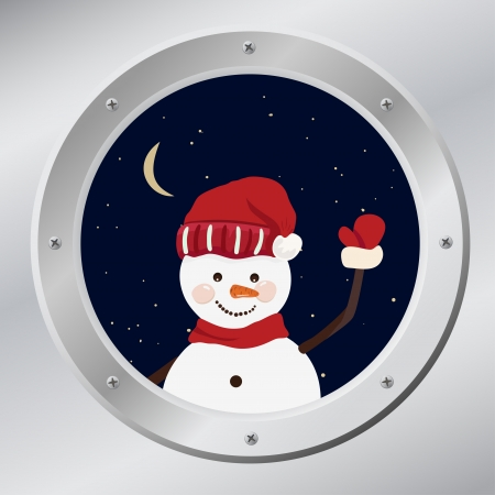 porthole: Snowmen in porthole in vector