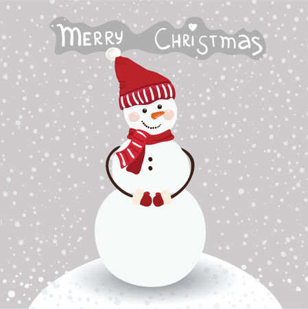 Merry Christmas and a Happy New Year cartoon card in vector.
