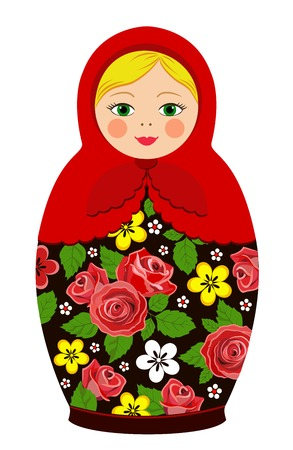 Russian tradition matryoshka dolls in vector