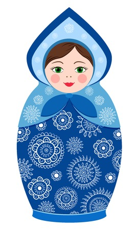 Russian tradition matryoshka dolls in kokoshnik in vector Vector